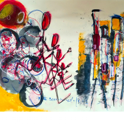 Sleepless Night 014 - 109 x 78 cm  - Ink, pencil, marker, acrylic, pigments, oil stick on craft.