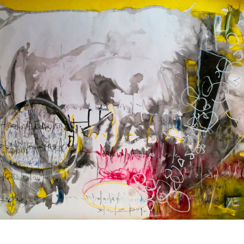 Sleepless Night 015 - 115 x 95 cm  - Ink, pencil, marker, acrylic, pigments, oil stick on paper.