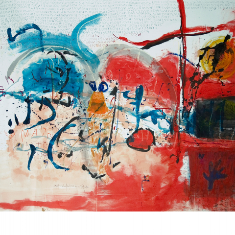 Sleepless Night 01 - 150 x 205 cm  - Ink, pencil, marker, acrylic, pigments, oil stick on paper mounted on canvas.