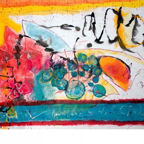 Sleepless Night 02 - 150 x 205 cm  - Ink, pencil, marker, acrylic, pigments, oil stick on paper mounted on canvas.