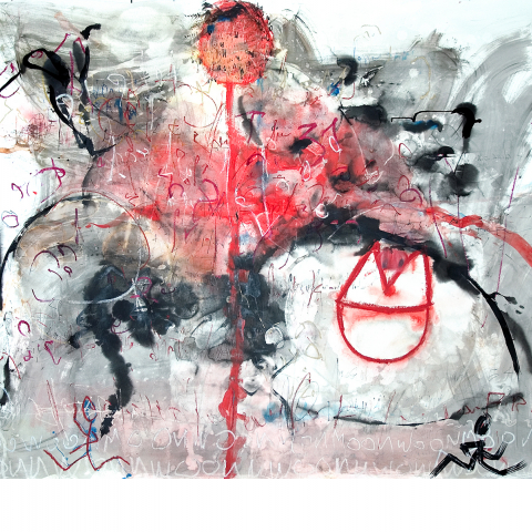 Sleepless Night 03 - 150 x 200 cm  - Ink, pencil, marker, acrylic, pigments, oil stick on paper mounted on canvas.