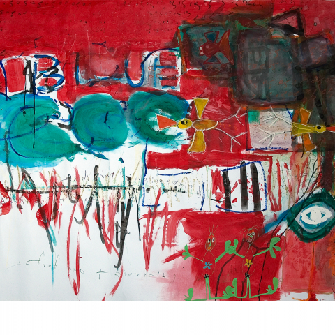 Sleepless Night 04 - 150 x 205 cm  - Ink, pencil, marker, acrylic, pigments, oil stick on paper mounted on canvas.