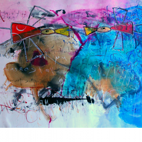 Sleepless Night 08 - 150 x 210 cm  - Ink, pencil, marker, acrylic, oil stick, pigments on paper mounted on canvas.