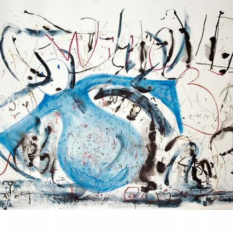 Sleepless Night 09 - 150 x 205 cm  - Ink, pencil, marker, acrylic, oil stick on paper mounted on canvas.