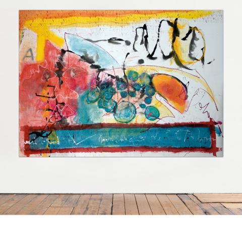Sleepless Night 002 - 230 x 150 cm -  Ink, pencil, marker, acrylic, pigments, oil stick on craft mounted on canvas.