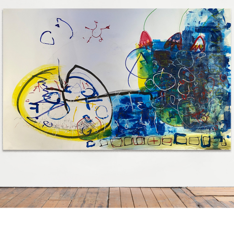 Sleepless Night 013 - 236 x 150 cm -  Ink, pencil, marker, acrylic, pigments, oil stick on craft mounted on canvas.